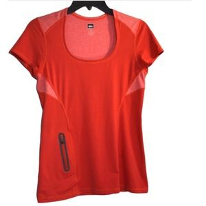 REI Red/Coral Short Sleeve Top XS